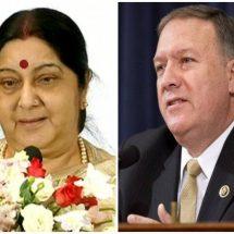 US के विदेश मंत्री ने बुधवार रात सुषमा स्वराज को फोन कर ,2+2 डायलॉग टालने पर जताया अफसोस